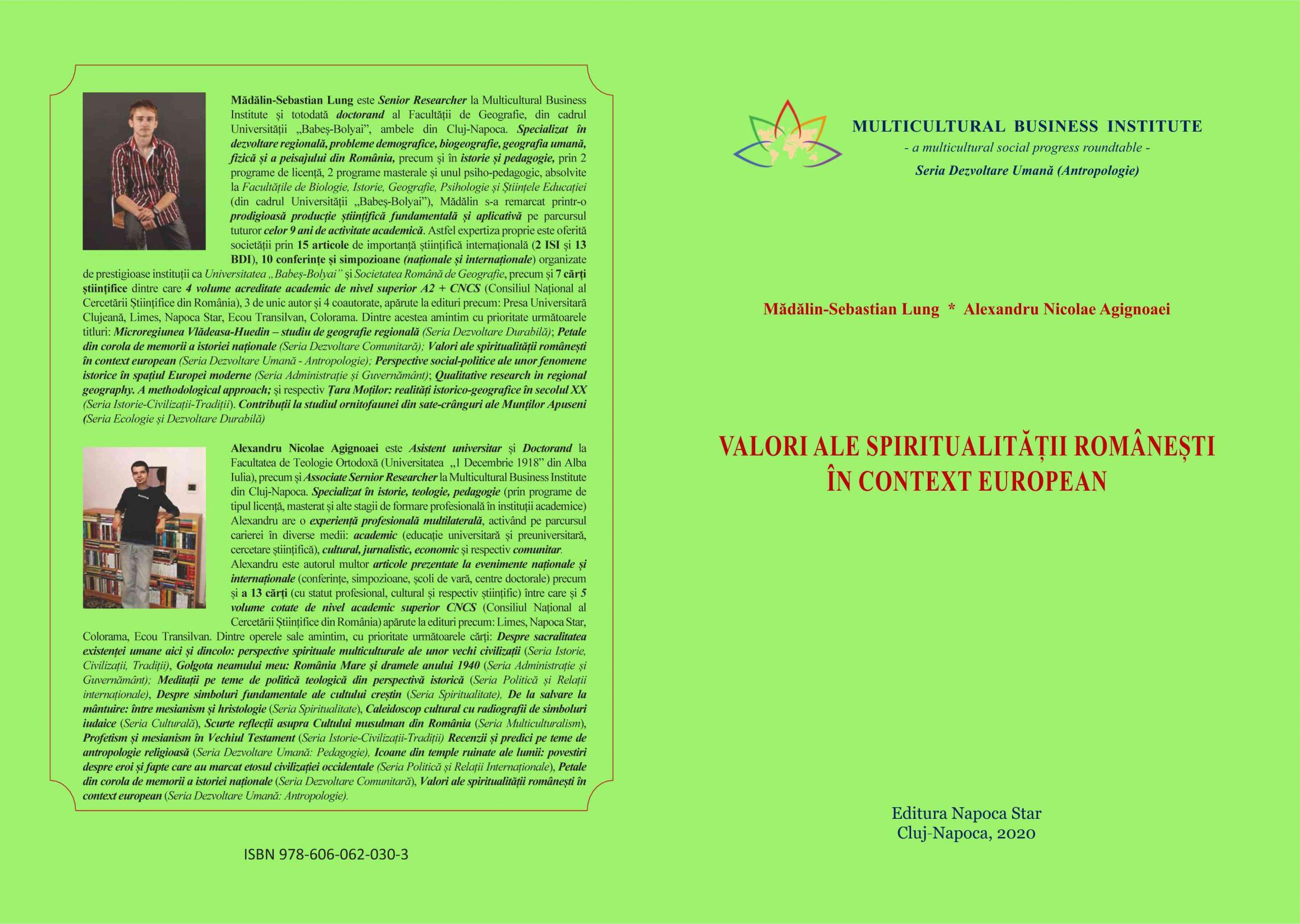 Coperta Lung &Agignoaei - Valori ale spiritualității românești