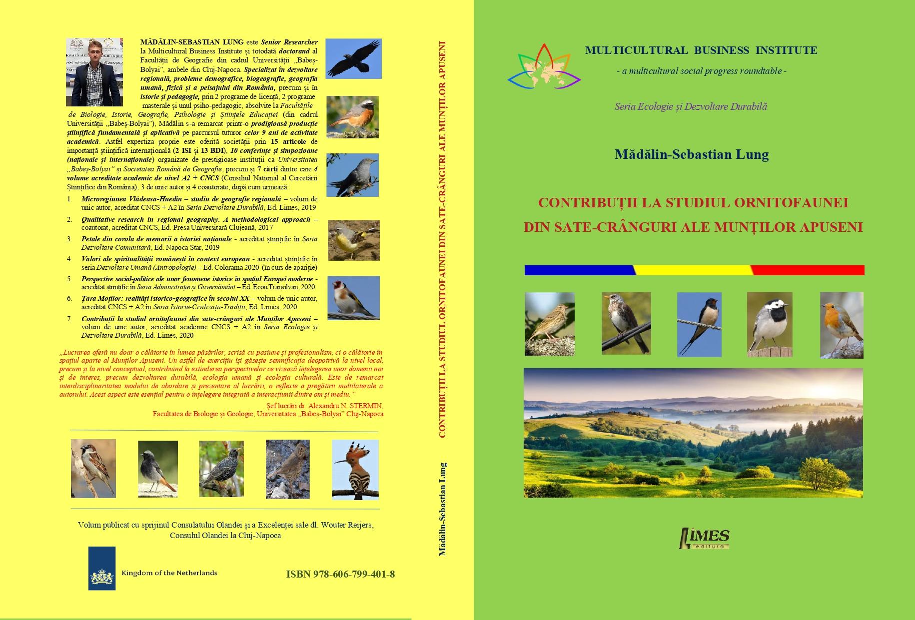 Coperta - Mădălin Lung- Ornitofauna - cu ISBN