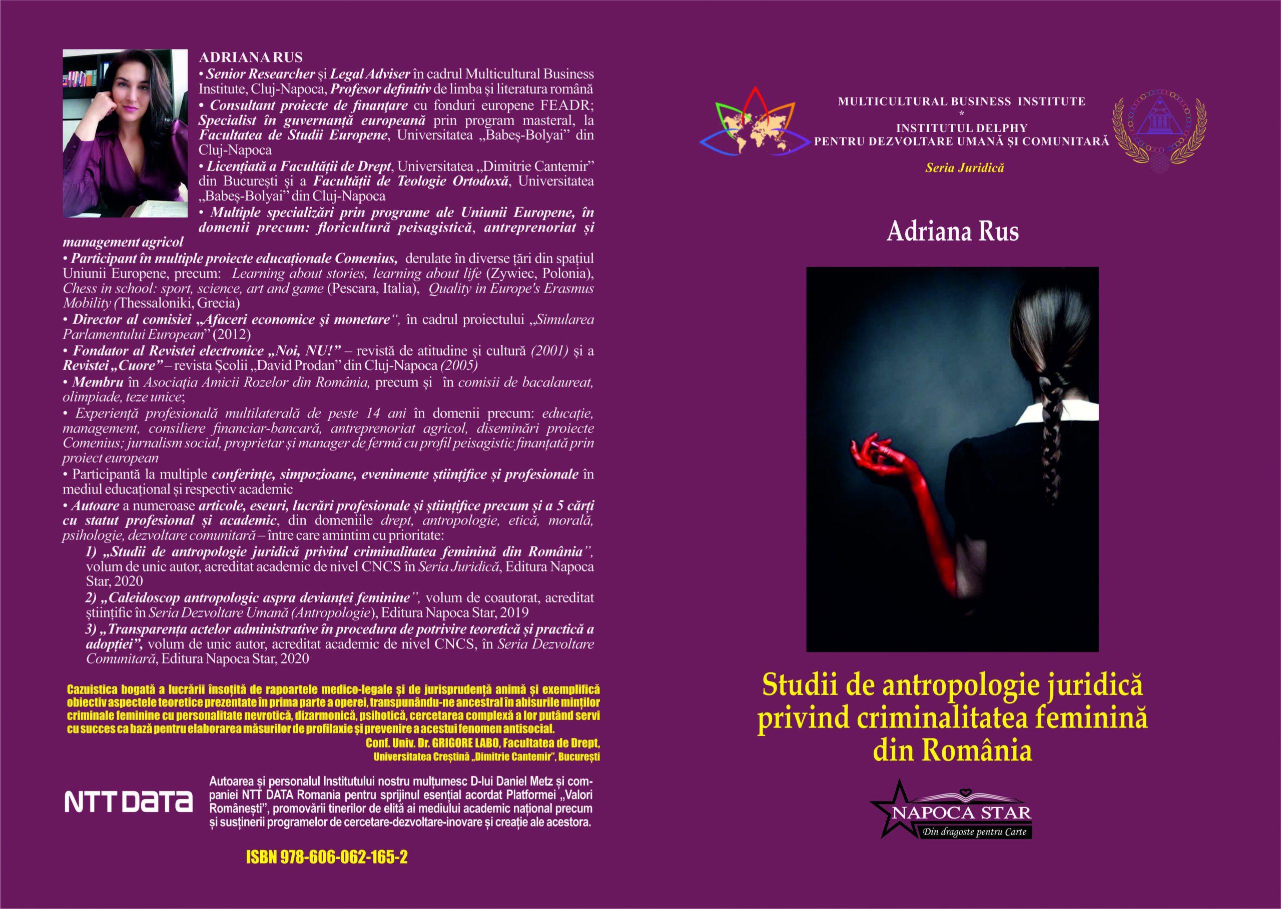 Coperta - Adriana Rus - Studii de antropologie juridică privind criminalitatea feminină din România
